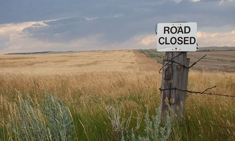 afgesloten weg