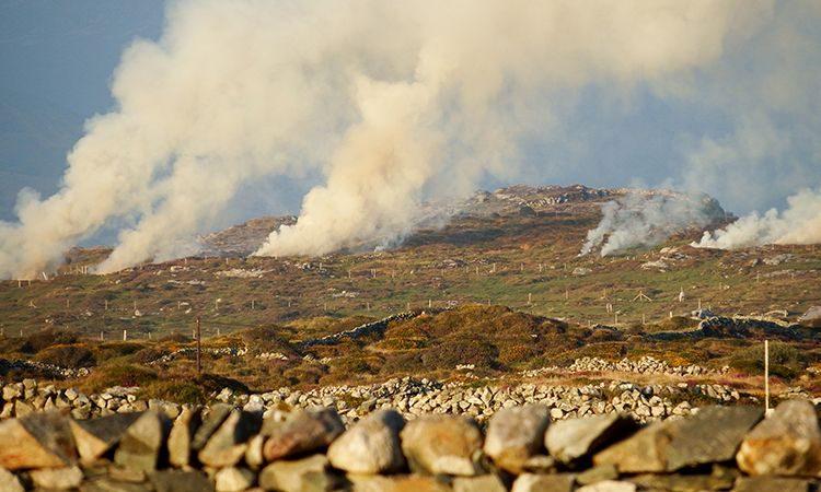 Rookpluimen in het landschap